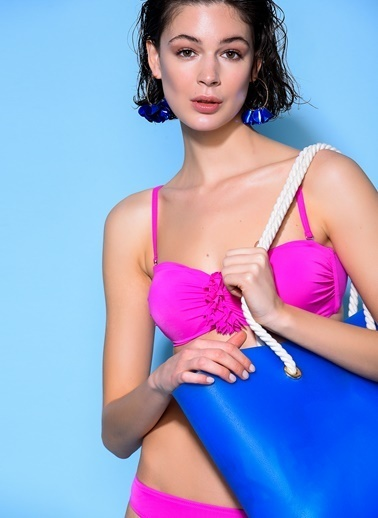 Loves You Ortası Çiçek Detaylı Bikini Takım Fuşya
